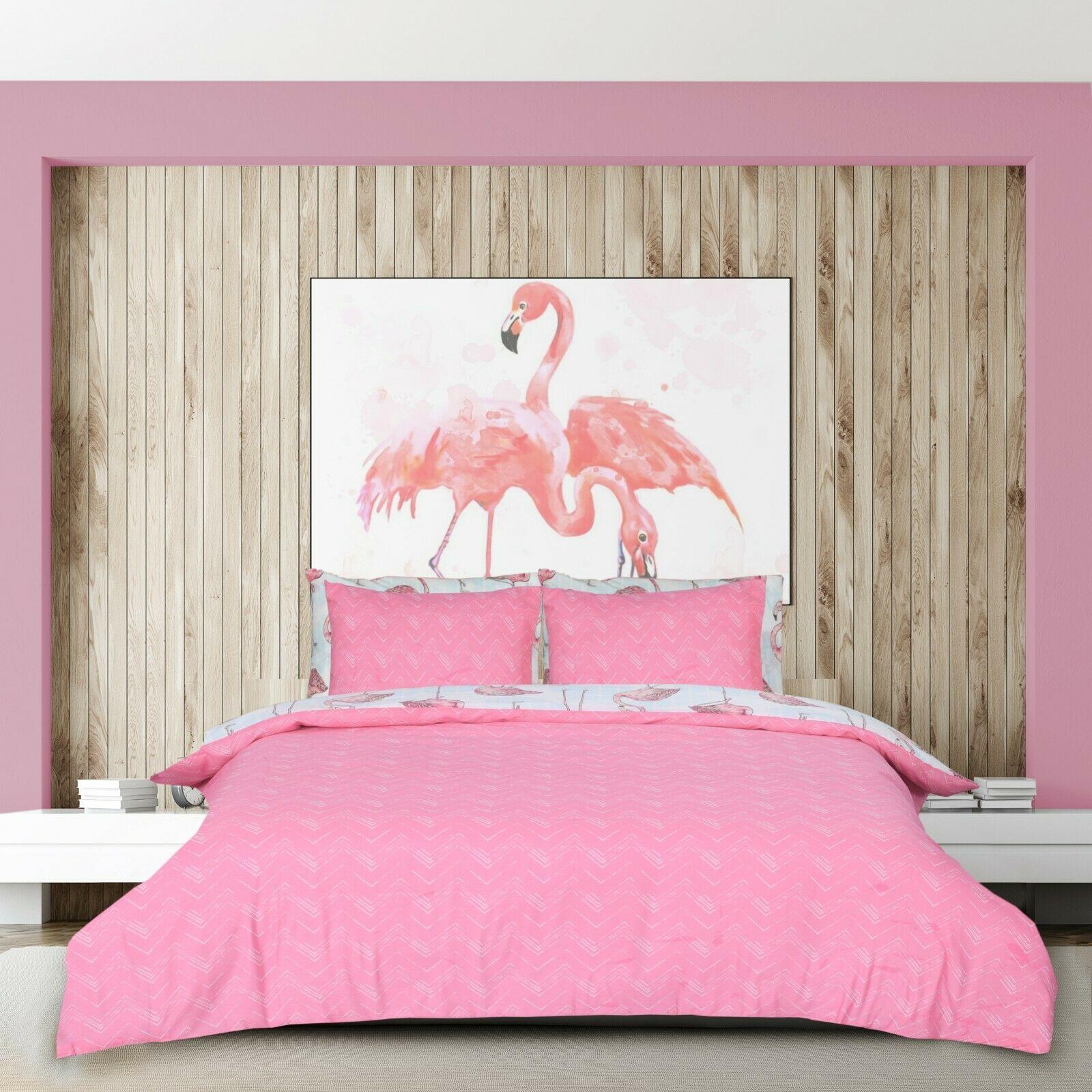 Pink flamingo cotton blend quilt duvet cover bedding set single double king size