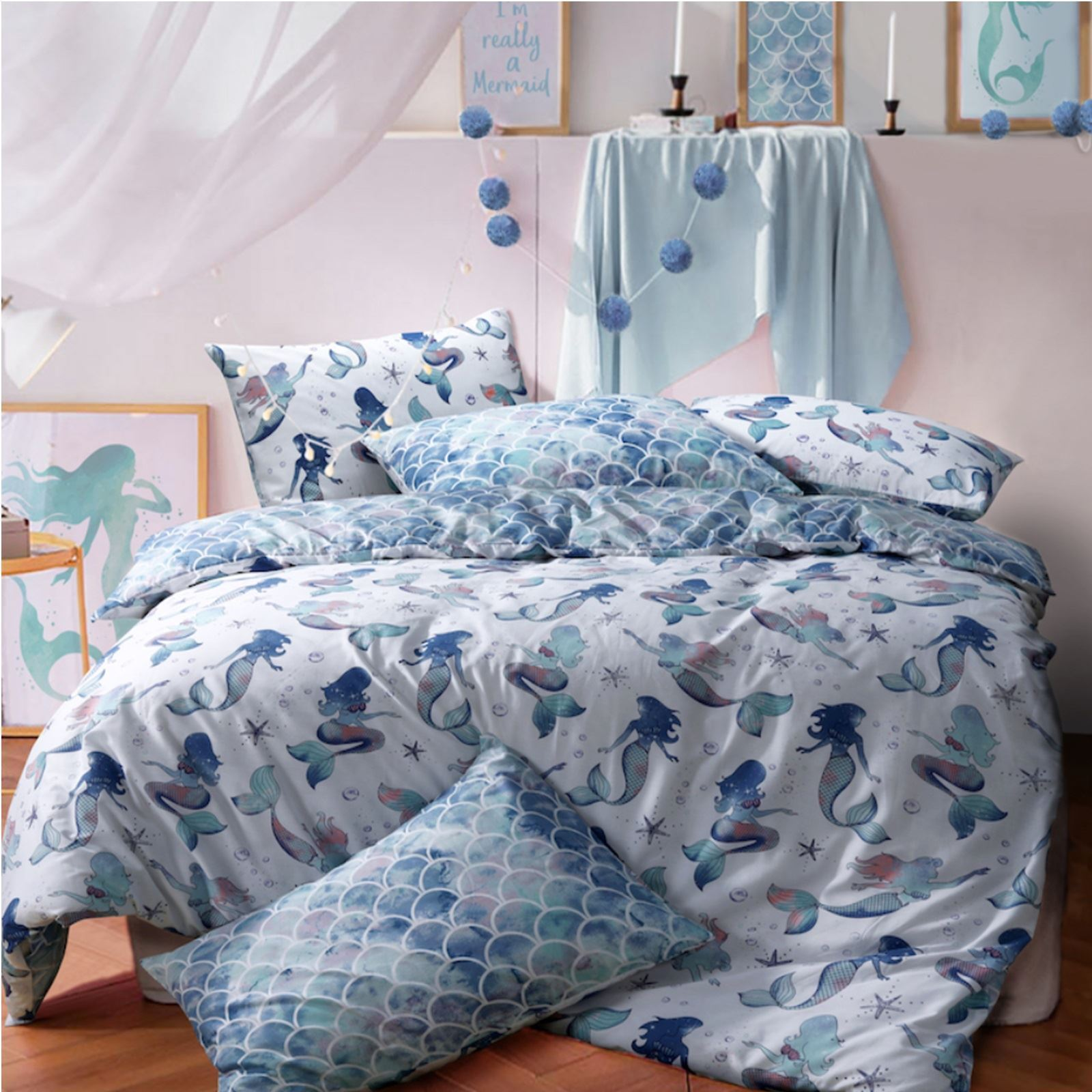 Mermaid Queen Blue Reversible Duvet Cover Quilt Bedding Set