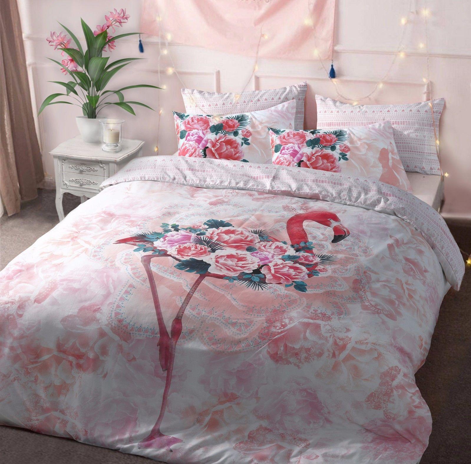 Bed Linens & Sets Flamingo Duvet Cover Set With Pillowcases Pink Reversible Polycotton Bedding Set