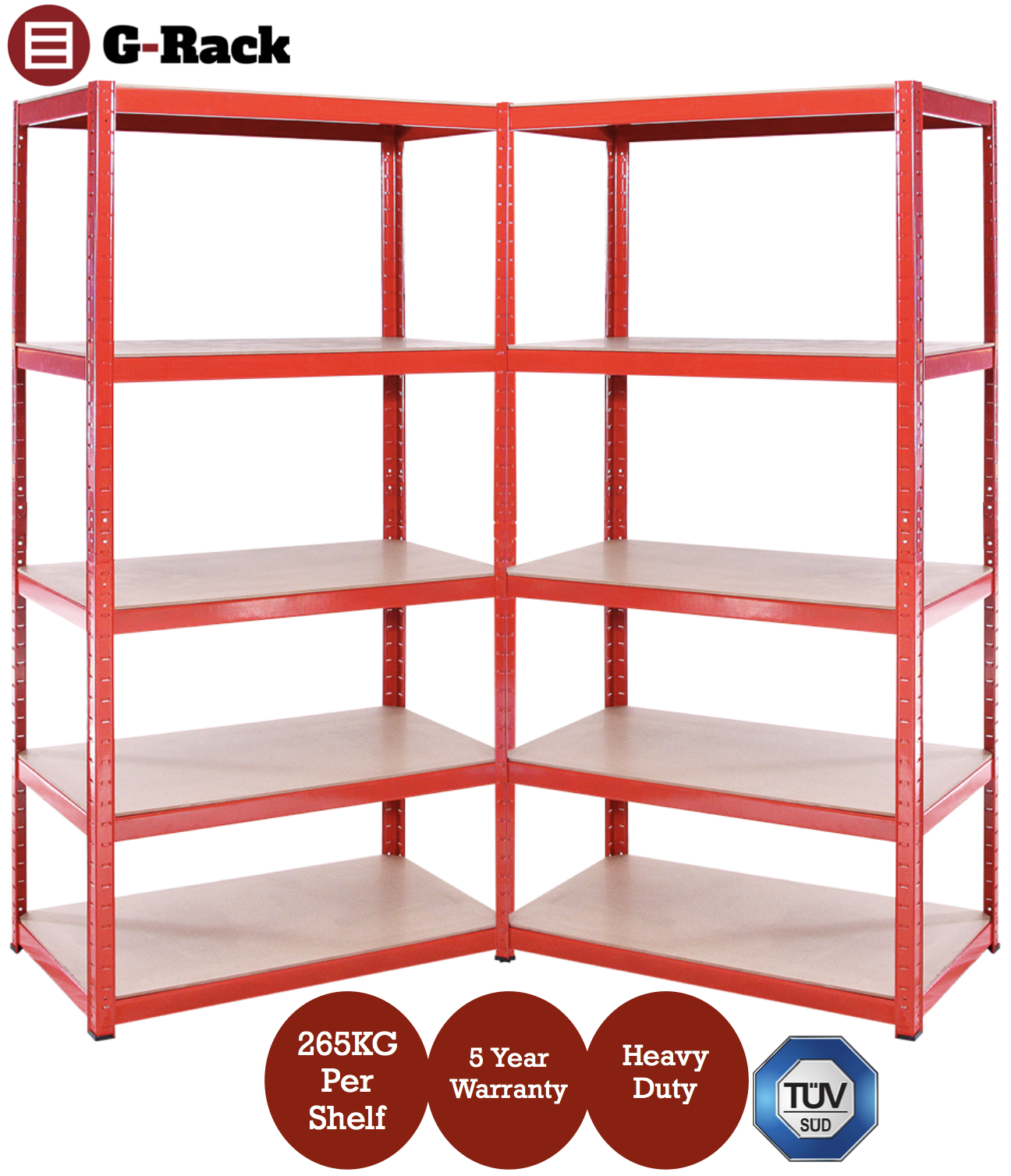 2 x Red Metal Garage Shelves Shelving Heavy Duty Racking ...