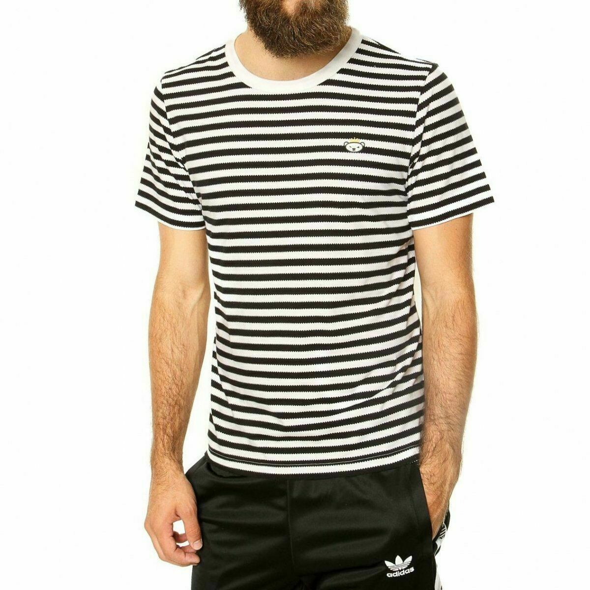 Details zu Adidas Original HERREN Nigo Bär Gezahnte Gestreift T Shirt Retro Vintage Neu