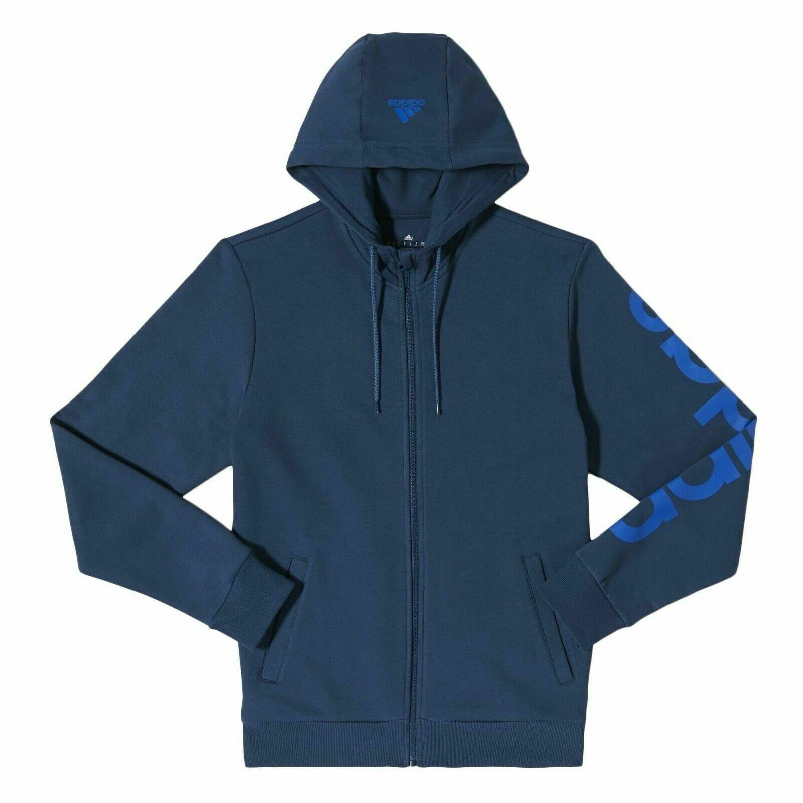 Détails sur Adidas Essentials Linear Men's Sweat à Capuche Bleu Marine Pull Zip Complet Chaud Fitness afficher le titre d'origine