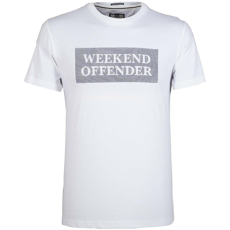 WEEKEND OFFENDER SHELLEY T SHIRT WHITE TOP AMF FOOTBALL CASUALS MEN/'S SUMMER