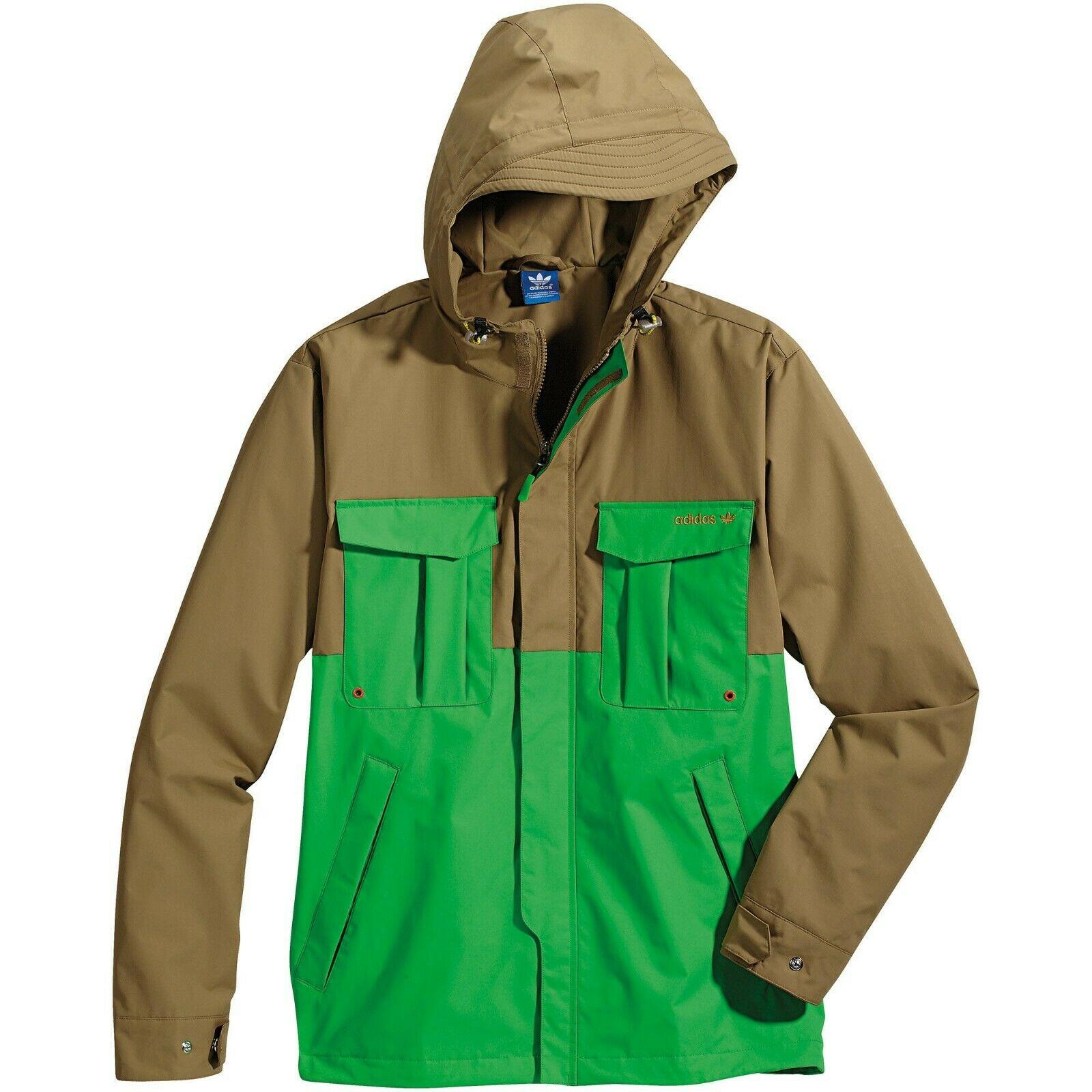 Details zu Adidas Original HERREN Wasserfest Laufen Jacke Mantel Brown Grün Retro Vintage