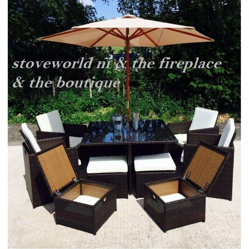 Cube Garden Furniture With Parasol Off 64, Grey Rattan Garden Furniture Sets