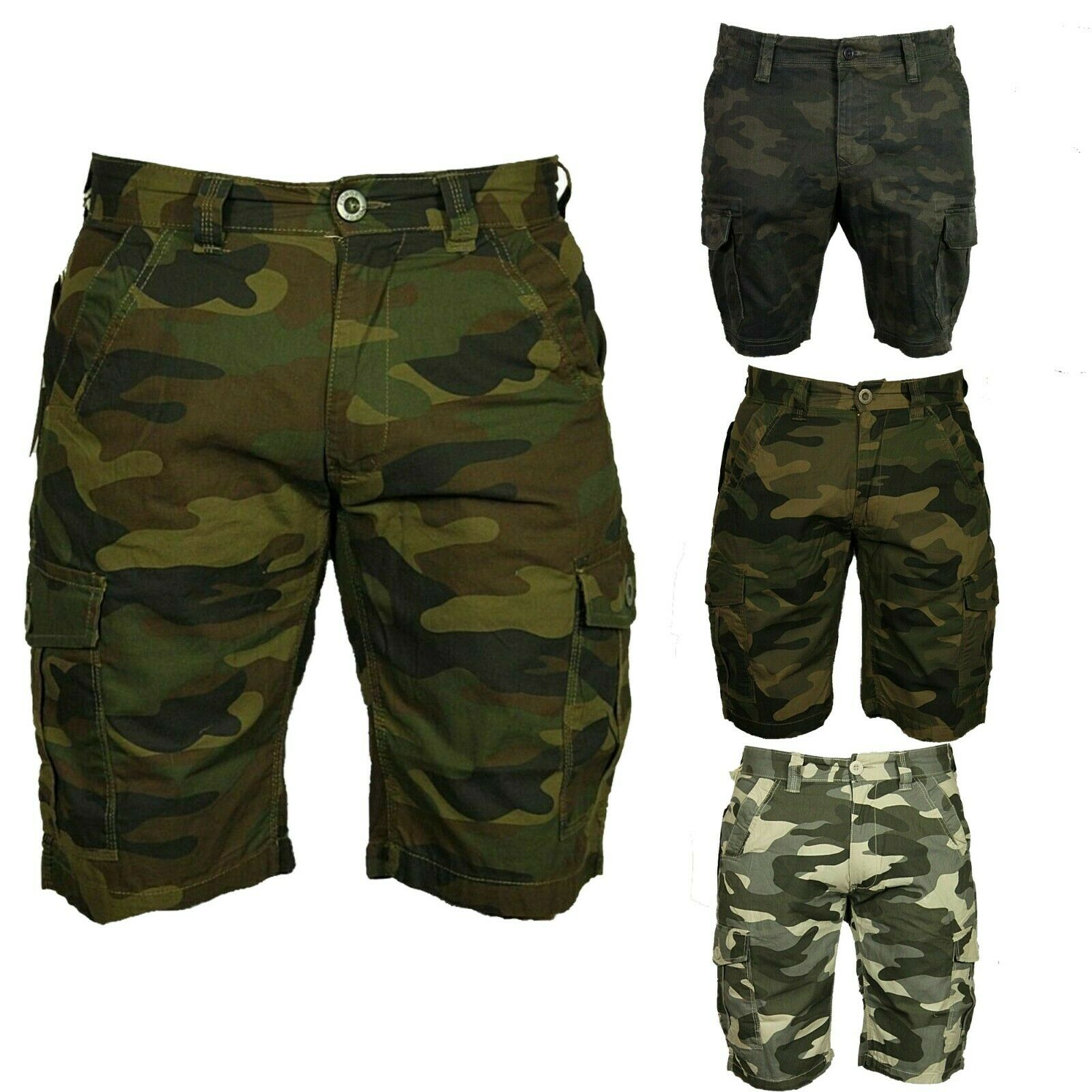 Big King Size Para Hombre Pantalones Cortos Camuflados Combate Ejercito Camo Pantalones Largos Casual Militar 3 4 Ebay