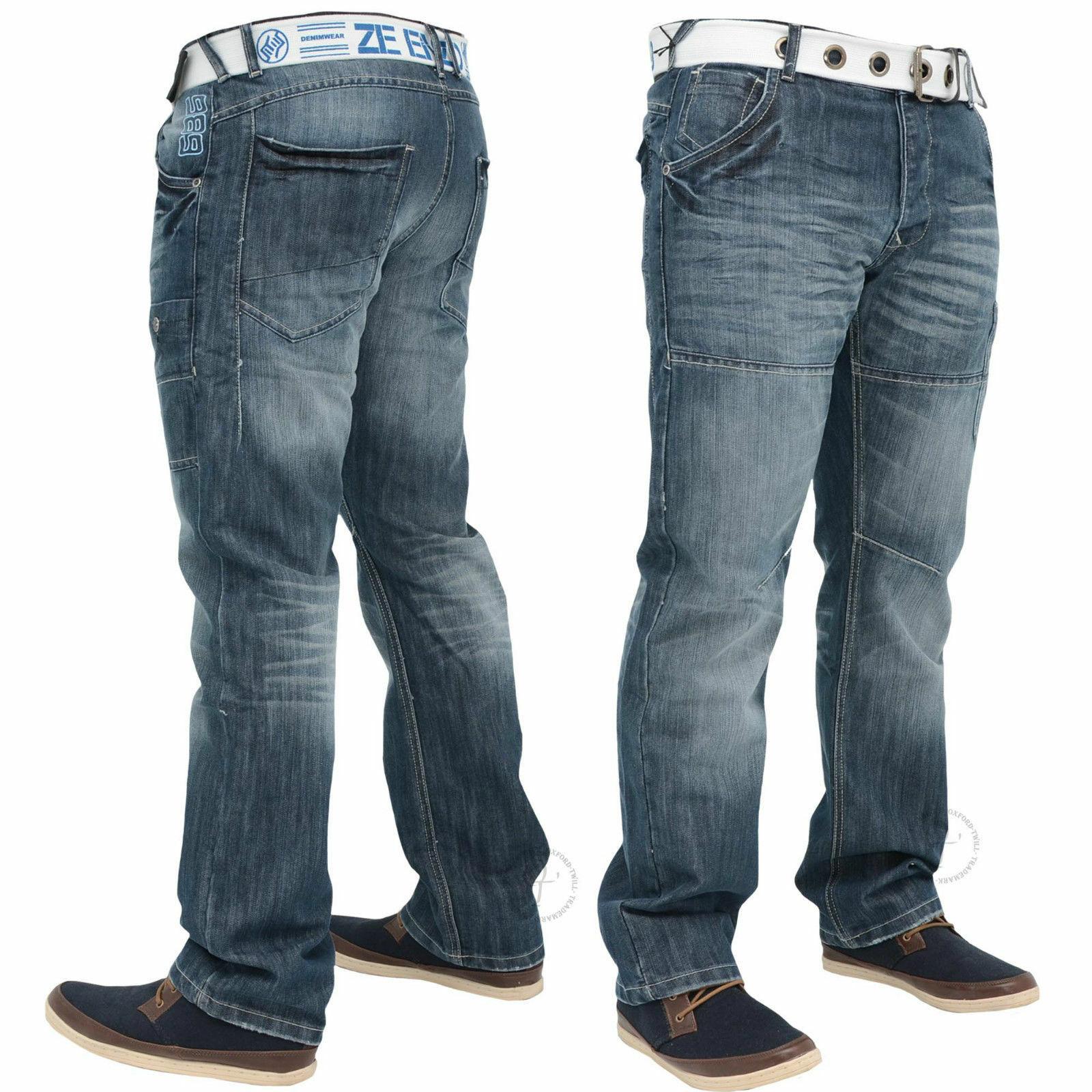 New Mens Enzo Designer Jeans Straight Leg Free Belt Included All Waist Sizes