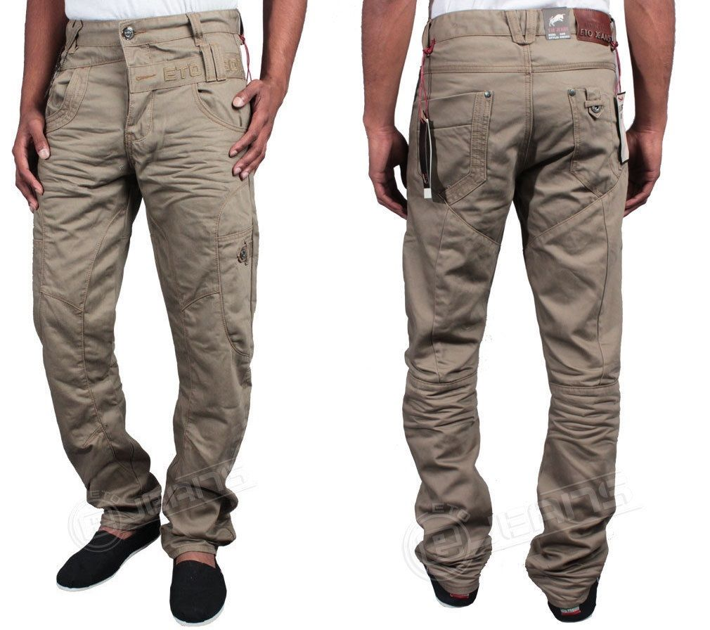DML Men/'s Axel Regular Fit Designer Cargo Chino Cuffed Jeans Cotton Casual Pants