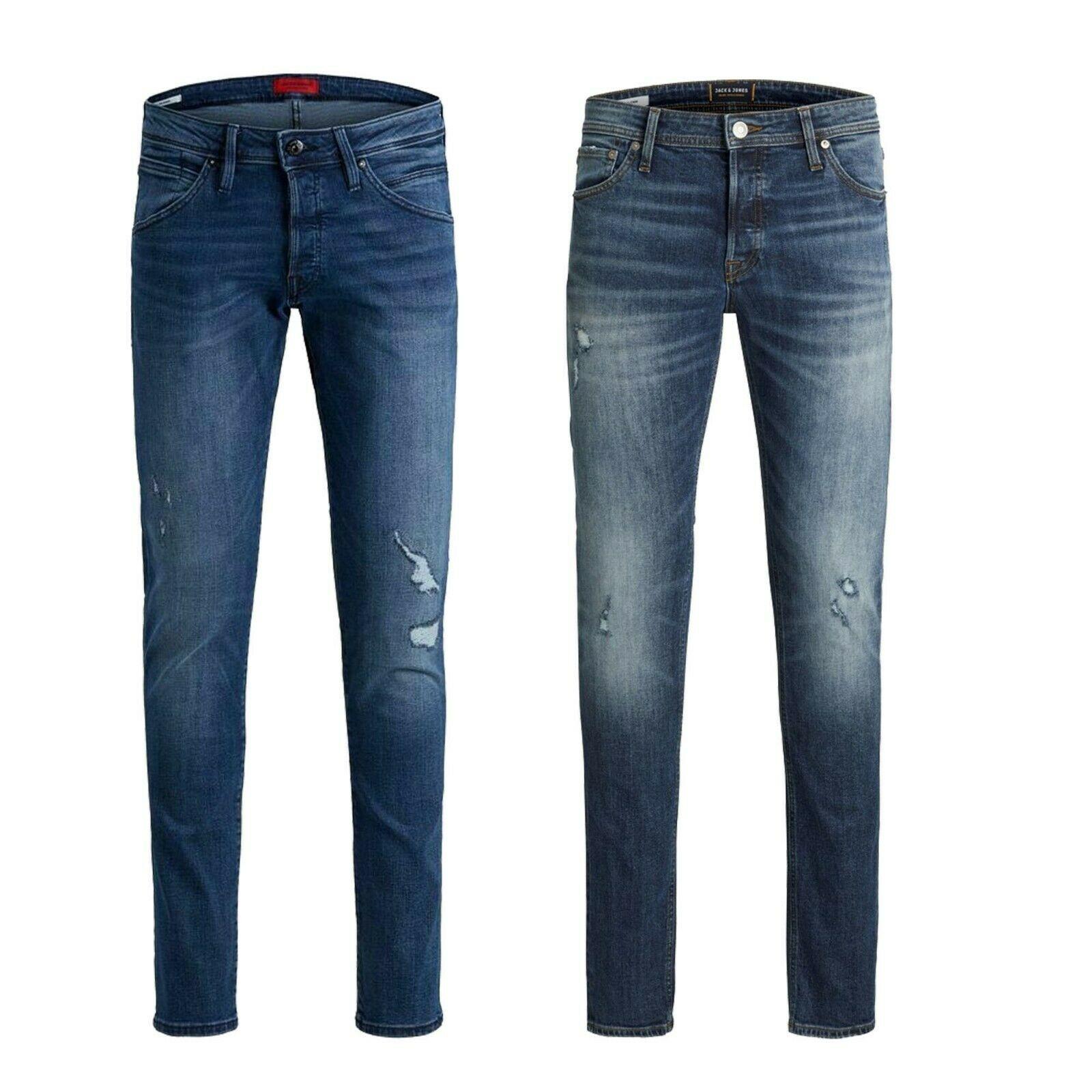 Jack /& Jones Tim Mens Blue Denim Slim Fit Jeans Regular Length Pants Waist 28-36