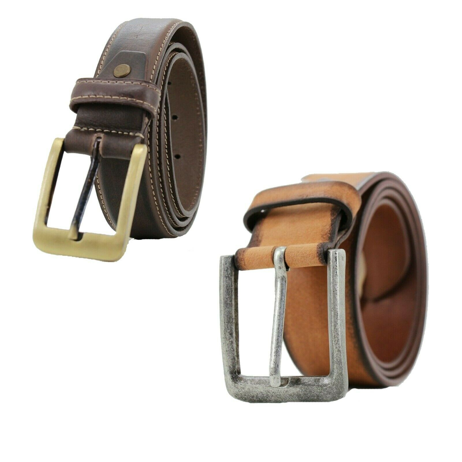 Lucini Mens Leather Belts Designer Casual Work Belts with Metal Buckle