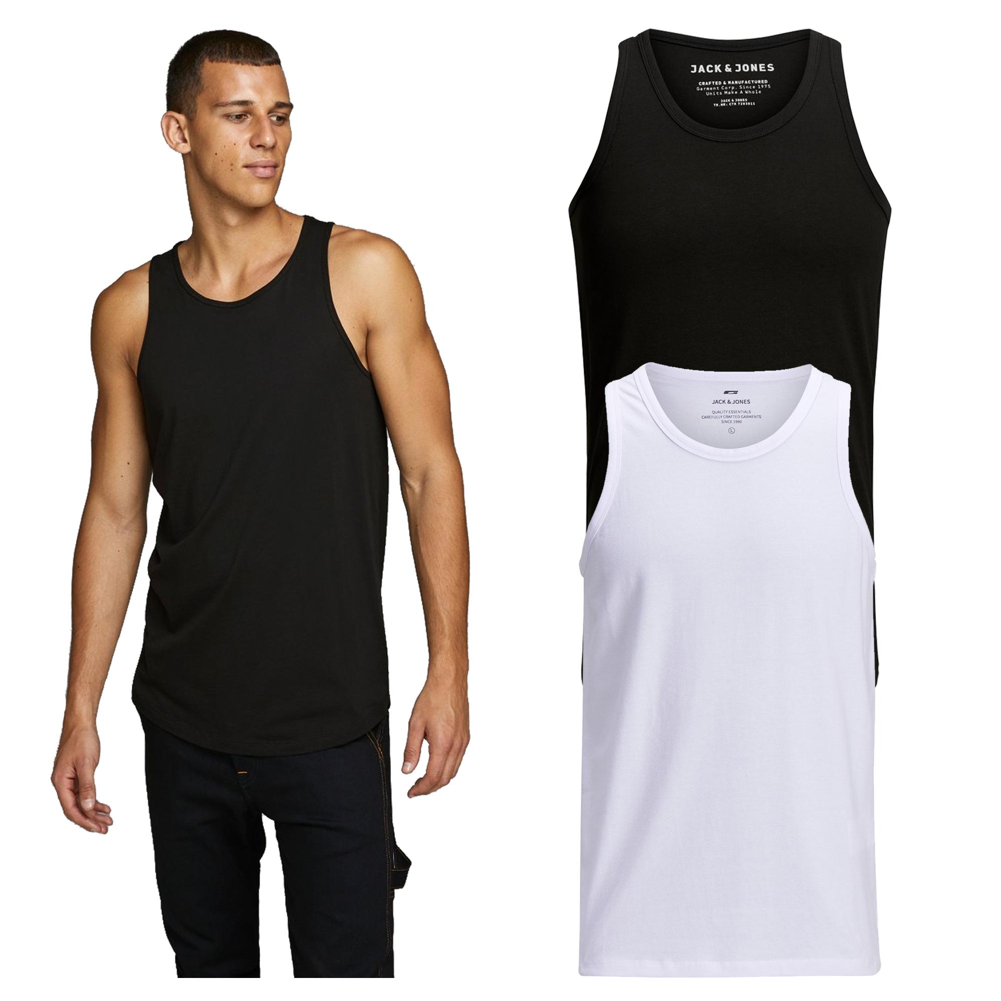 Jack /& Jones Mens Tank Tops Casual Sports Gym Sleeveless Vests White