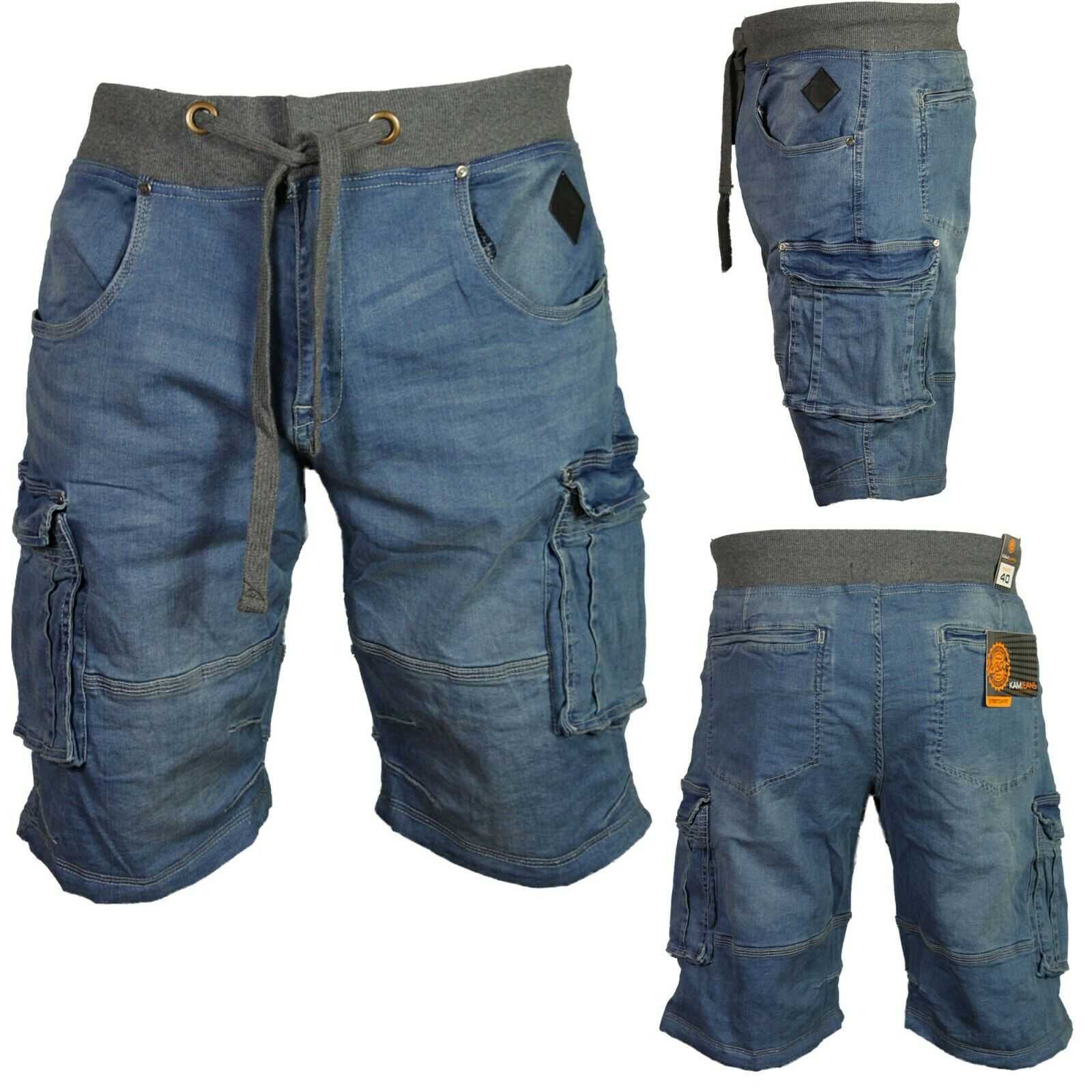 Kam Jeanswear Mens Denim Cargo Shorts