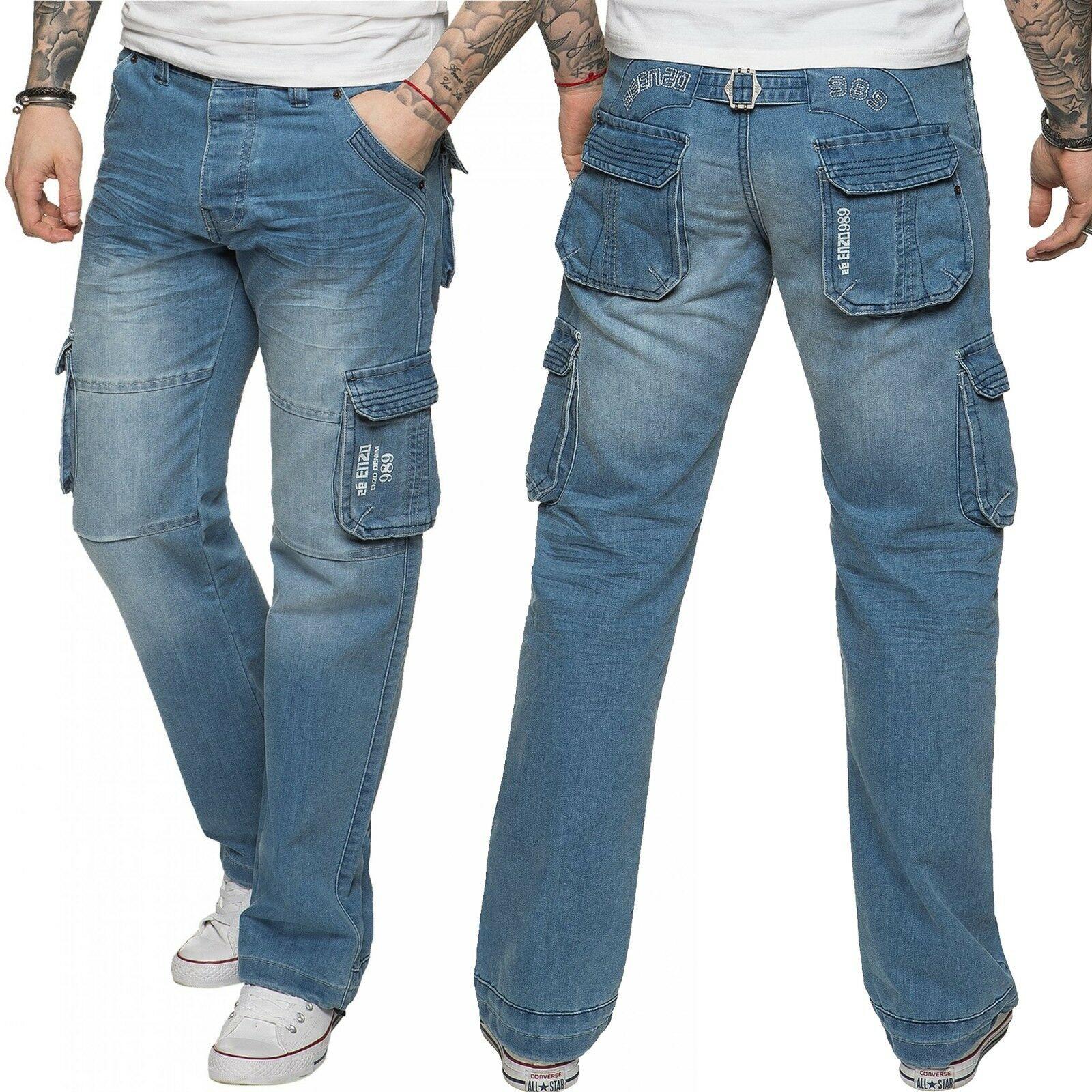 Men/'s Designer Jeans Denim Casual Pants Straight Leg 30 32 34 36 38 40
