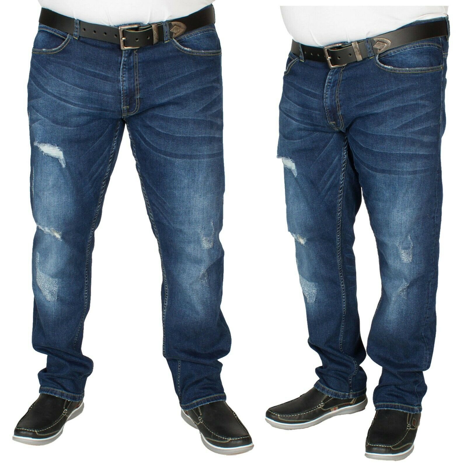Mens Big King Size Ripped Jeans Duke D555 in Vintage Blue Colour All Sizes 42-56