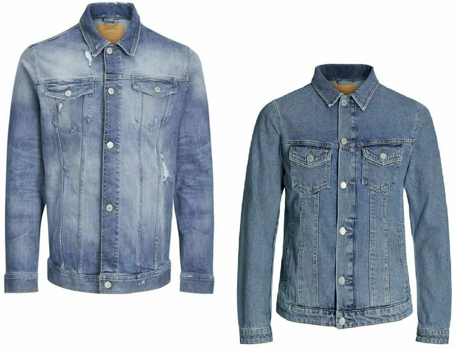 Jack /& Jones Mens Distressed Western Denim Vintage Blue Jean Jacket S 2XL