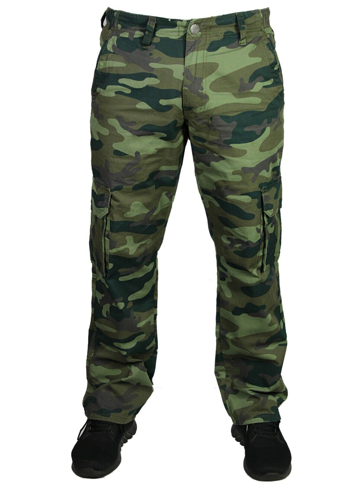 KAM Mens Casual Camo Cargo Combat Pants Dark Green Camouflage Trousers 30-64