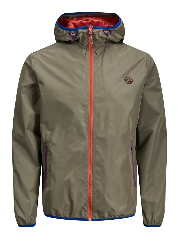 Jack /& Jones Men/'s Originals Jacket Hooded Long Sleeve Zip Water Repellent Coat
