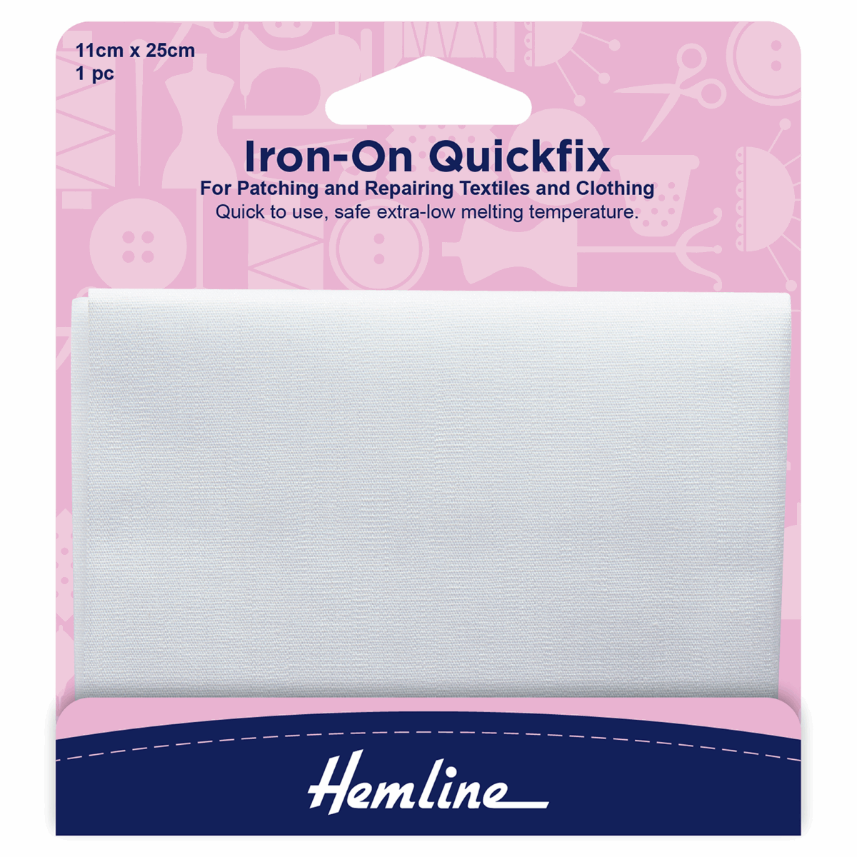 Iron on Quickfix mending patch 100/% cotton white for repairing
